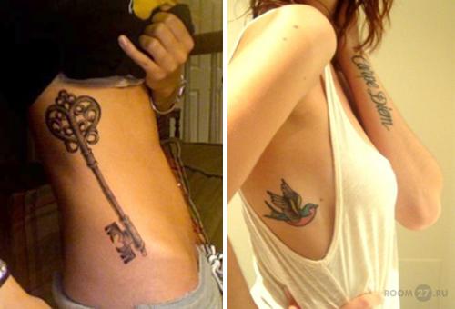 Татуировки для девушек на теле сбоку фото
