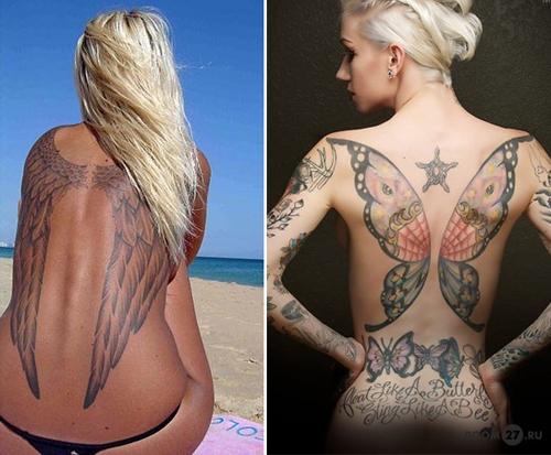 Фото девушки с татуировкой крылья